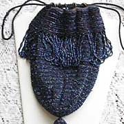 Vintage Blue Carnival Glass Beaded Drawstring Purse w/Fringe, Beaded Tassel & Bakelite Rings