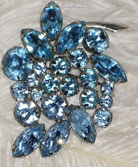 Vintage Blue Rhinestone Signed WEISS Brooch