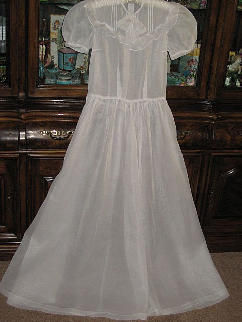 Vintage Full Length White Organdy Dress with Pin Tucked Yoke