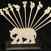Vintage Faux Ivory Elephant Hor d'Oeuvres Holder w/10 Decorative Picks