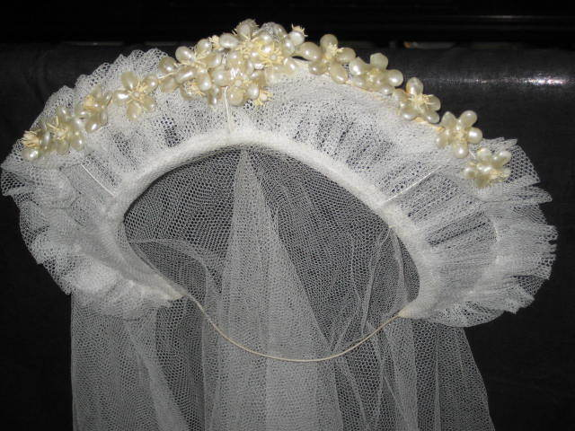 1930's Stand Up Netted Wedding Tiara w/Wax Orange Blossoms & Original Net Veil