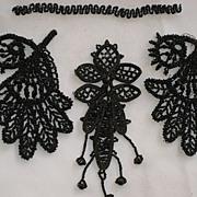 Three Antique Jet Appliqués-One Pair with One Single Appliqué