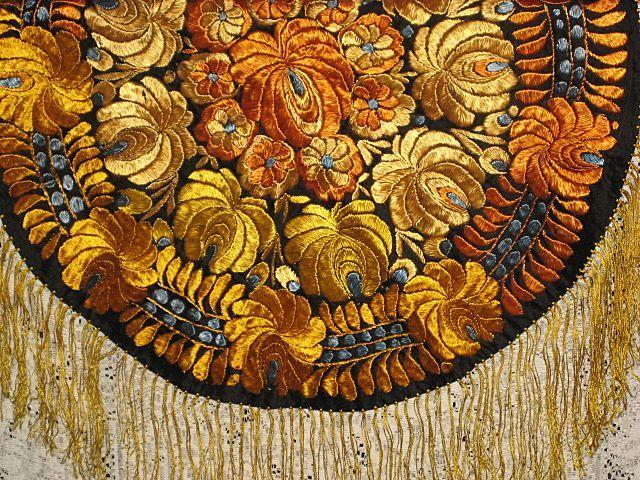 Vintage Hungarian Matyo Hand Made Round Tablecloth w/Fringe-Rusty Orange, Goldish Yellow & French Blue Flowers