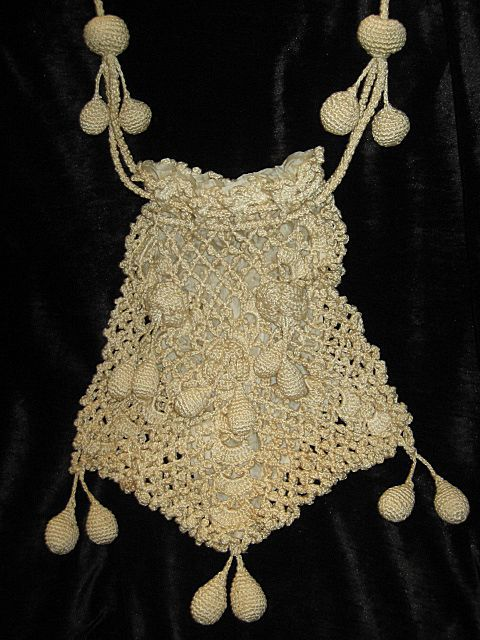 Large Antique Victorian Hand Crocheted Drawstring Purse w/Crocheted Roses & 17 Tassels