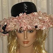Stunning & Huge 1940's Black Wide Brimmed Hat w/Tons of Pink Fabric Flowers-H.C. Prange Millinery