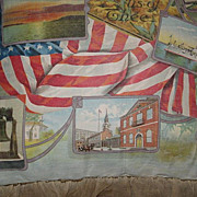 Rare Antique 1900's Patriotic Litho on Canvas Pillow w/Embroidered Ruffle-U.S. Flag, Statue of Liberty & Others-Fourth of July