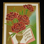 "Antique ZIM ""Happy Birthday"" Embossed Red Roses Postcard-Unused"