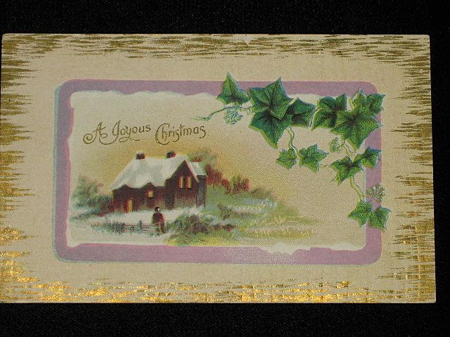 "Antique ""A Joyous Christmas"" Embossed Post Card with Ivy & Winter Scene"
