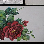 Antique Three Red Roses Embossed Post Card-Printed in America