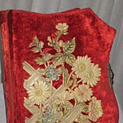 Antique Victorian Red Velvet Photo Album with Ornate Pastel Floral Celluloid Detail-Unusual Shape-17 Photos
