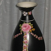 2DIE4-Large 1920's Crown Ducal Black Chintz Vase with Pink Roses & Rose Swags