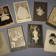 8 Victorian Cabinet Card Photos-Babies & Young Children
