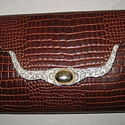Vintage Brown Ann Turk Faux Alligator Leather Shoulder Bag Purse with Silver Metal & Gold Ornamentation