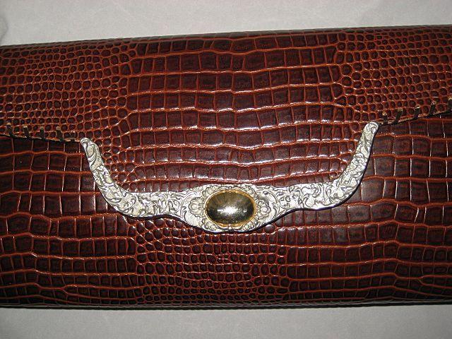 Vintage Brown Ann Turk Faux Alligator Leather Shoulder Bag Purse with Silver Metal & Gold Ornamentation