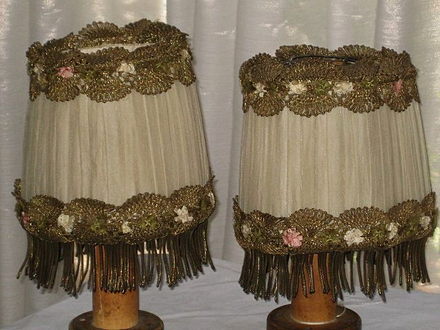 Pair of 1920's French Silk Chiffon Lampshades w/Heavy Gold Metallic Trim & French Ribbon Roses