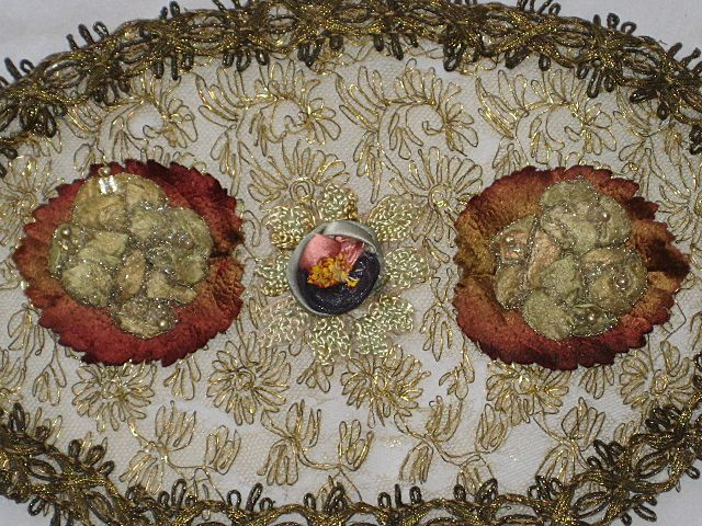 Large Antique French Gold Metallic Oval Appliqué with Faux Pearls & Ribbon Rose