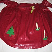 Vintage Hand Made Christmas Apron w/Tree, Candy Cane, Candles
