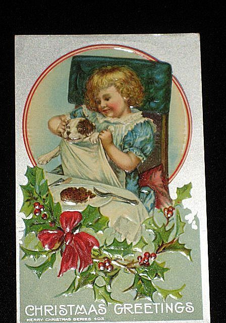 "Antique Embossed Postcard-Young Girl at Dinner Table with her Dog w/Napkin,-With Holly, Berries & Red Bow-""Merry Christmas Series 403""-Unused"
