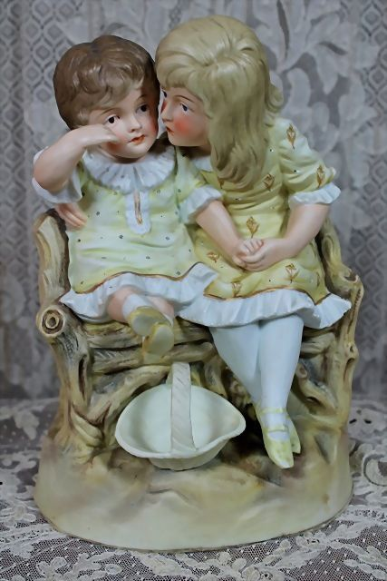 Super Sale!  Beautiful Large Figurine of Brother and Sister