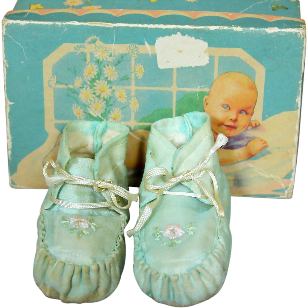Darling Vintage Silk Booties in Box