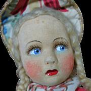 "Cute Vintage 14"" Felt and Cloth Musical Doll"