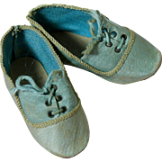 Lovely Antique Blue Silk Doll Shoes