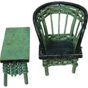 Charming Green Wicker and Wood Doll Furniture