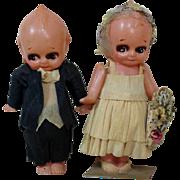 "Precious 5"" Celluloid Kewpie Bride and Groom"
