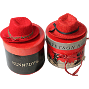 Pair of Miniature Saleman's Sample Hats and Hatboxes