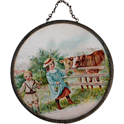Antique Round Framed Miniature Picture