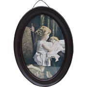 Antique Framed Picture of Girl with Her Doll