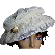 Incredible Edwardian Lace Ladies Wire Hat
