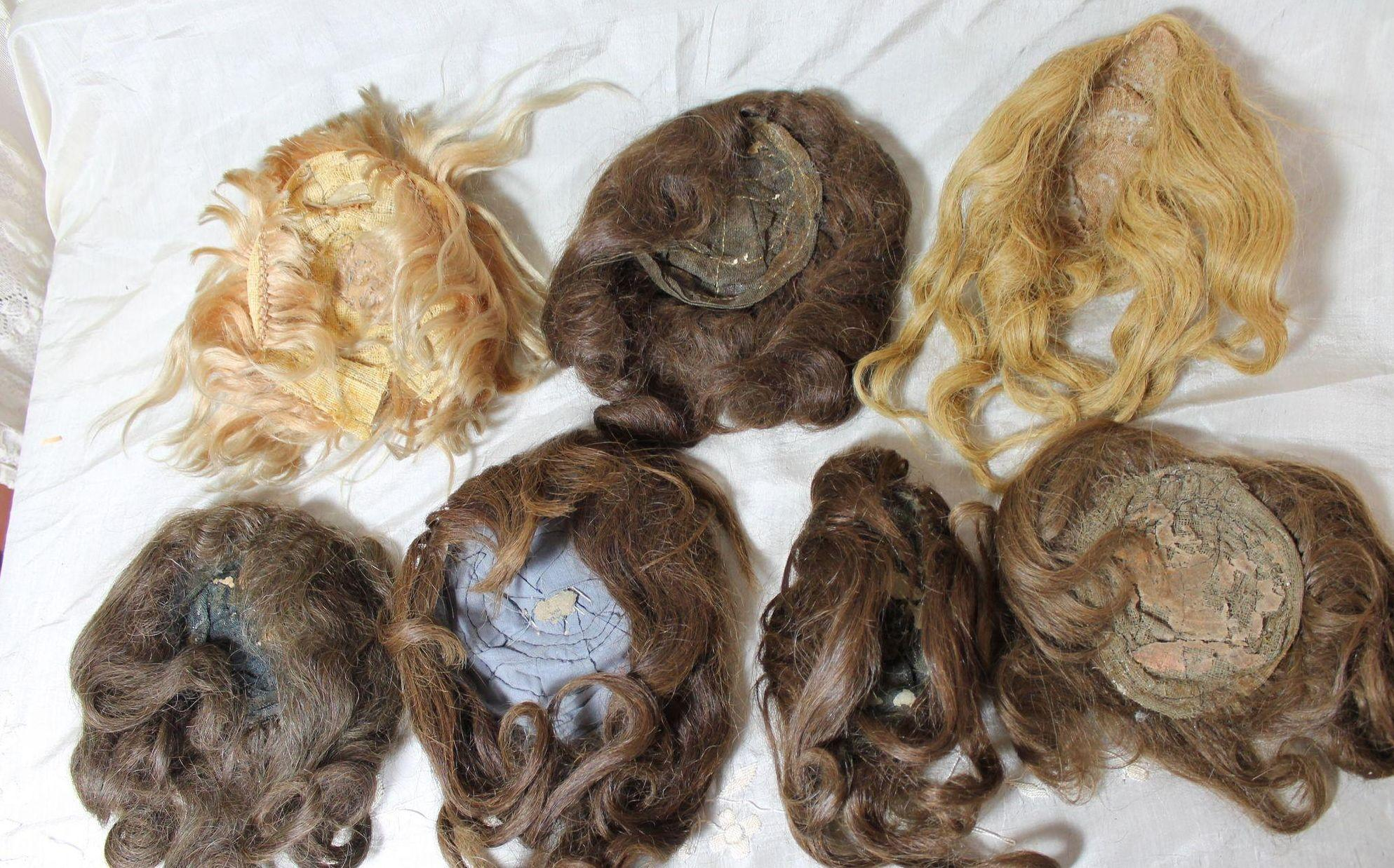 victorian style hair lot of 7 antique doll wigs from victorianretreat on ruby 3023 | 001343.2L
