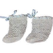 Vintage Crocheted Doll Socks