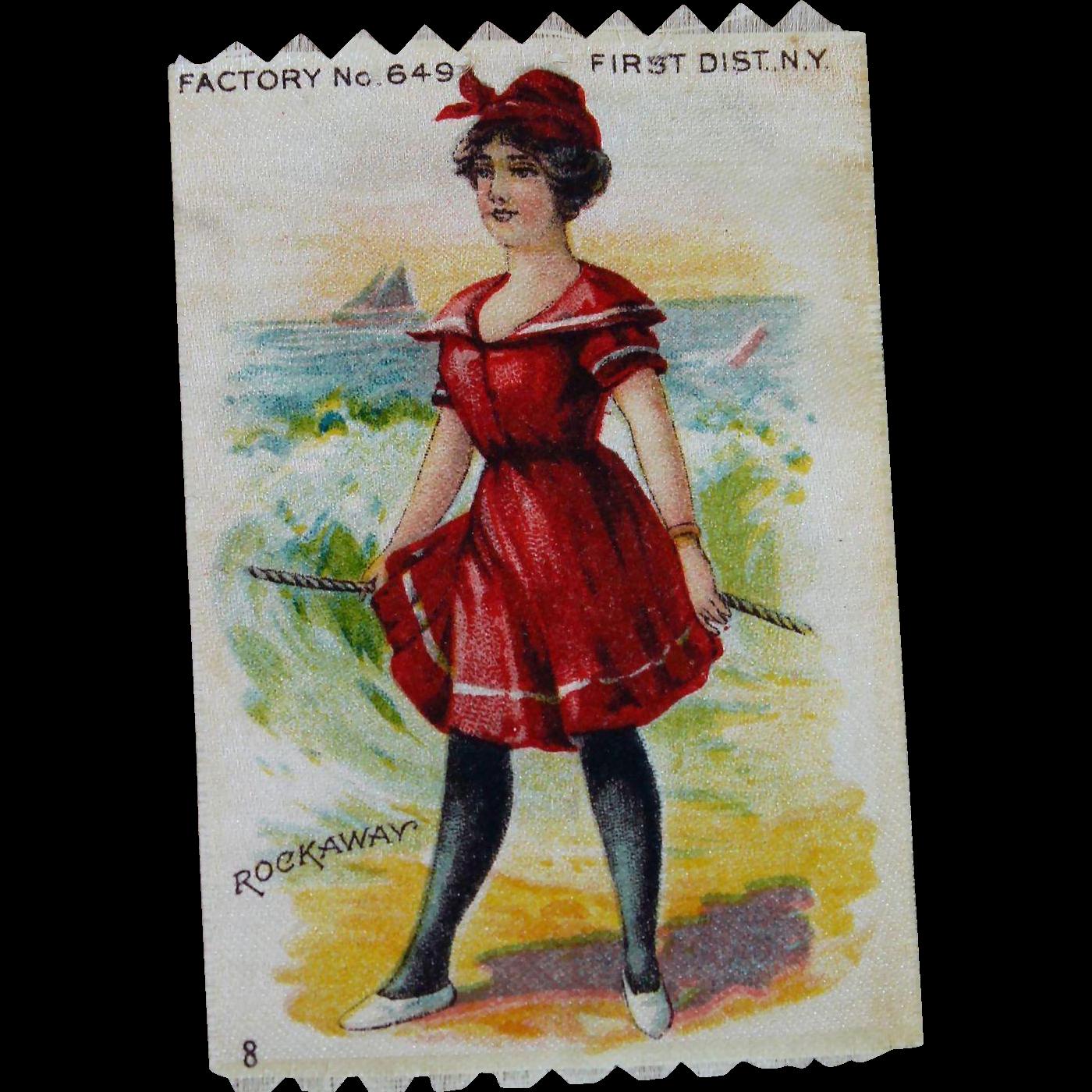 Antique Miniature Silk Advertising Picture