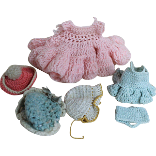 Vintage Lot of Knit and Crocheted Small Doll Clothes