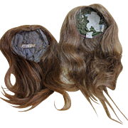 Two Antique French Human Hair Wigs