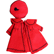 Darling Red Wool Coat and Hat for Bleuette