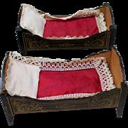 Fabulous Antique Pair of Biedermeier Doll House Beds