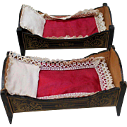 Fabulous Antique Pair of Biedermeier Doll House Beds