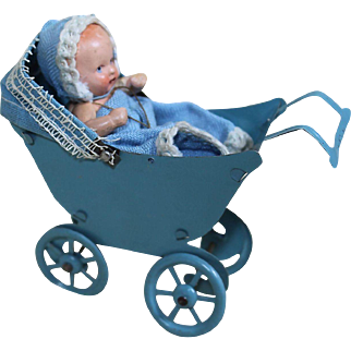 Miniature Vintage Blue Tin Buggy with Baby
