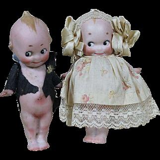 """Darling 4 1/2"""" Kewpie Bride and Groom"""