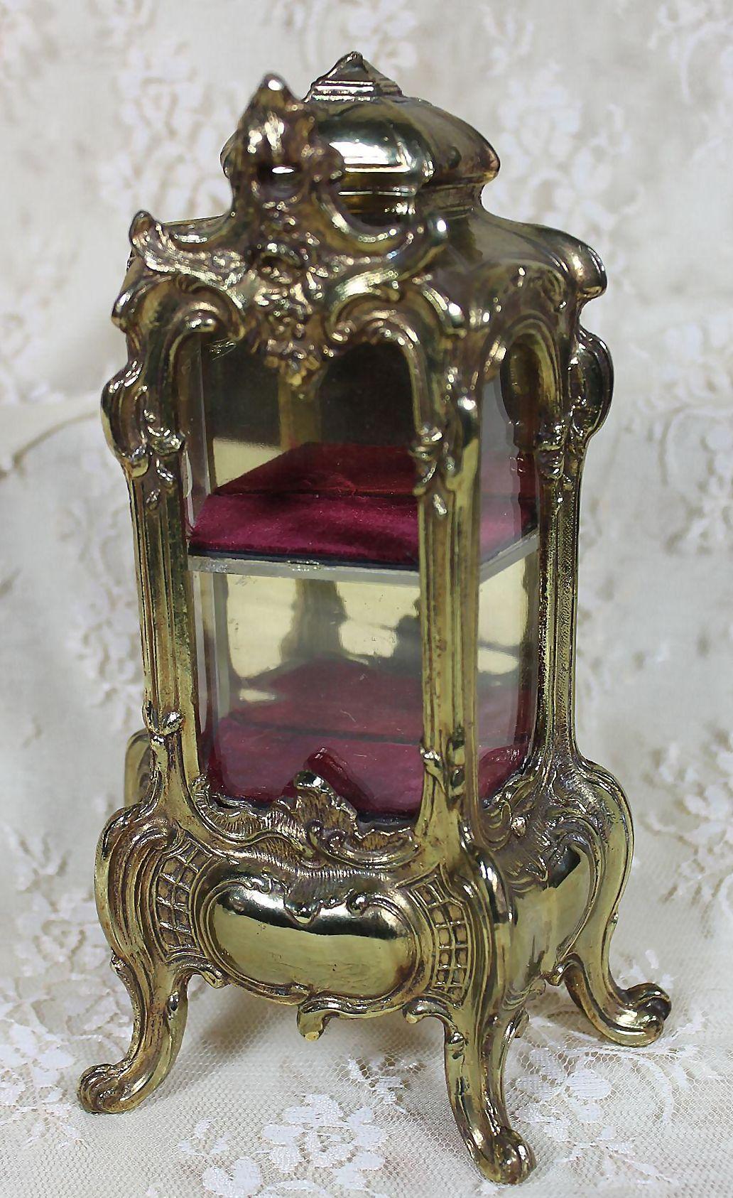 lovely vintage metal vitrine for dolls from. Black Bedroom Furniture Sets. Home Design Ideas
