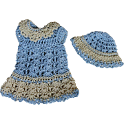 Tiny Crocheted Doll Dress and Hat for Mignonette