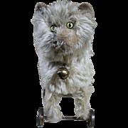 "Rare Antique 12"" Steiff Cat with Metal Wheels"