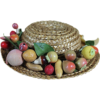 Vintage Straw Doll Hat with Fruit Embellishments