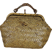 Antique French Fashion Wicker Suitcase