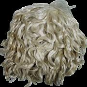 Lush Antique Blond Mohair Skin Wig