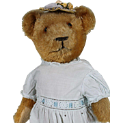"Adorable Vintage 16"" Bear in Vintage Dress"