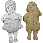 Pair of Vintage Cloth Dolls